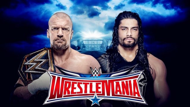 wrestlemenia tripal h vs roman reings